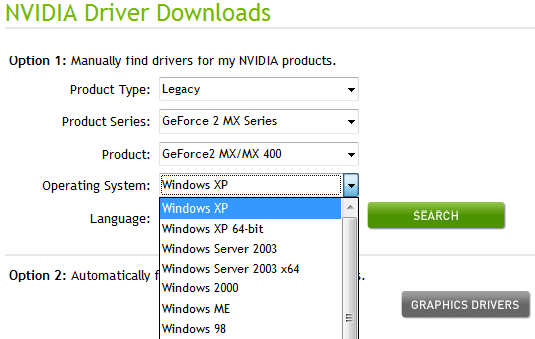 No Windows 7 drivers for GeForce2 MX on the NVidia site